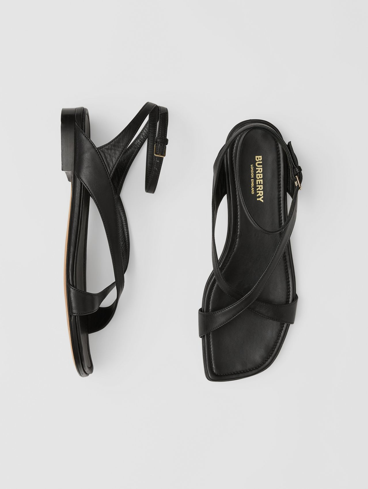 Lambskin Wraparound Sandals in Black