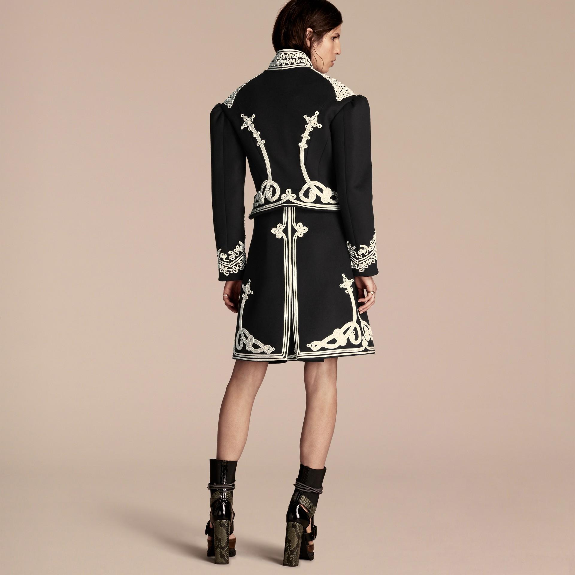 Black Braided Wool Military Coat - gallery image 3