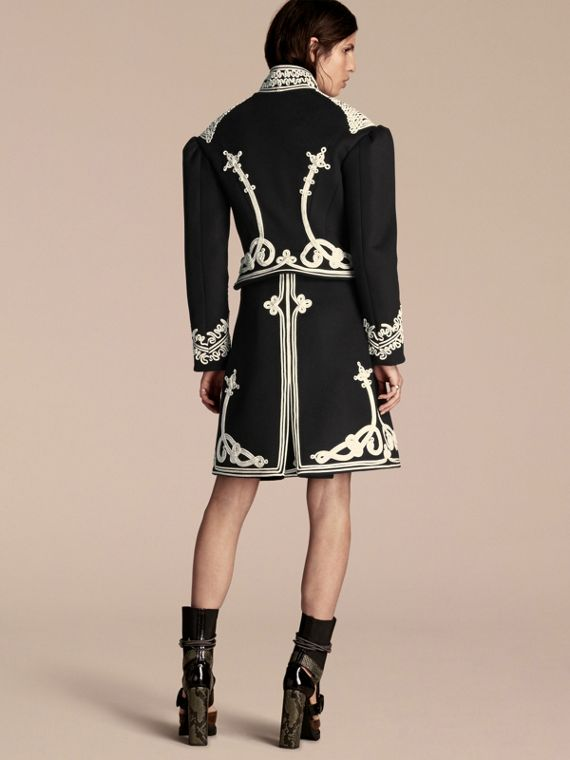 Black Braided Wool Military Coat - cell image 2
