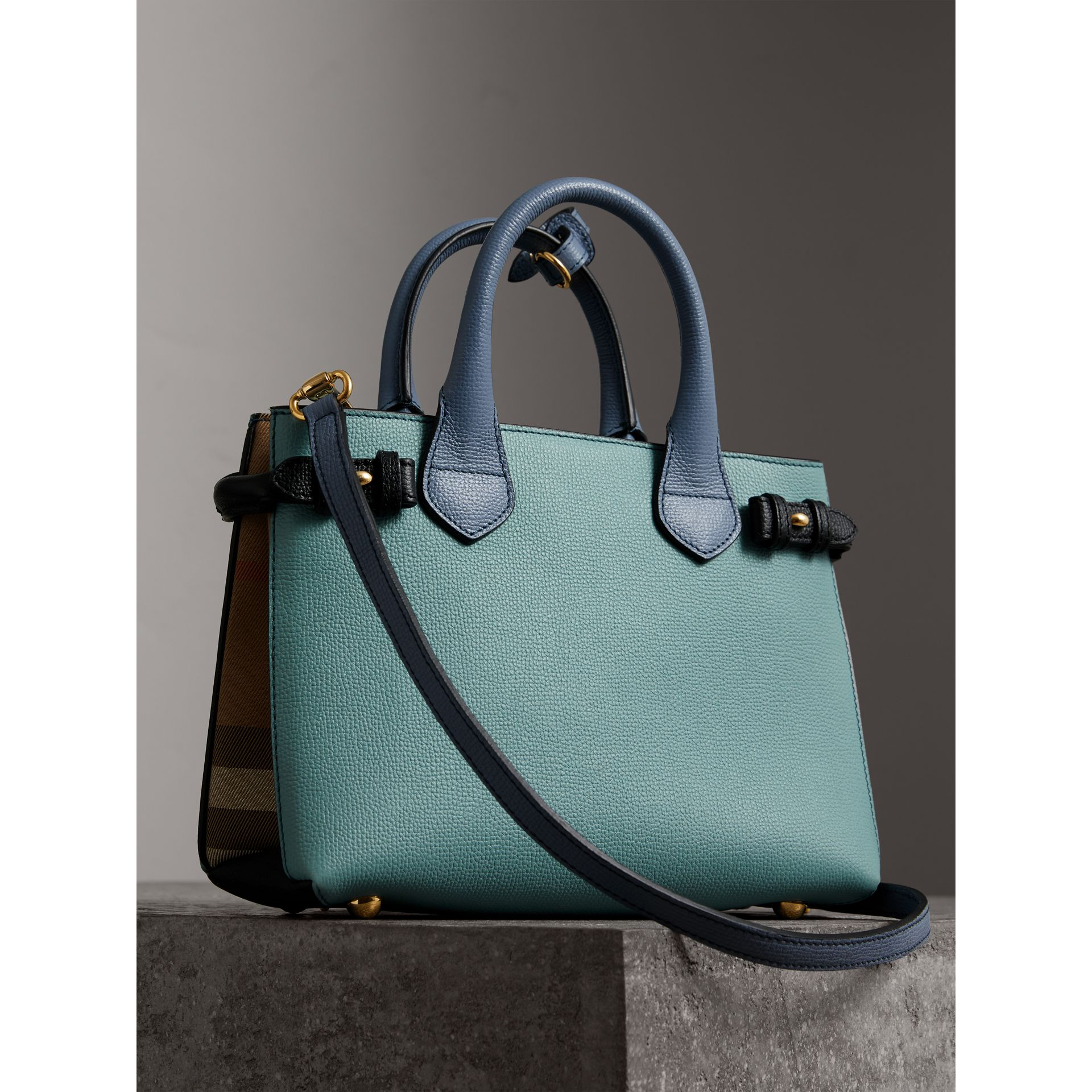 The Small Banner in Tri-tone Leather and House Check in Pale Opal/slate Blue - Women | Burberry - gallery image 4