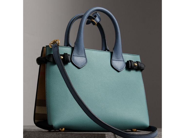 The Small Banner in Tri-tone Leather and House Check in Pale Opal/slate Blue - Women | Burberry - cell image 4