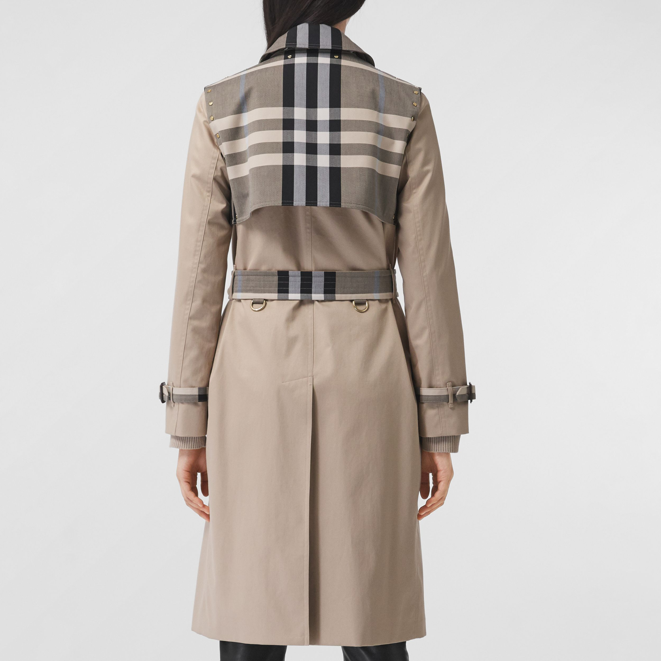 Check Panel Cotton Gabardine Trench Coat in Soft Fawn - Women | Burberry - 3