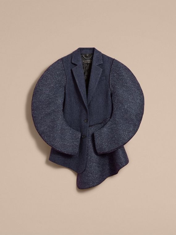 Voluminous-sleeve Herringbone Wool Coat in Carbon Blue - Women | Burberry - cell image 3