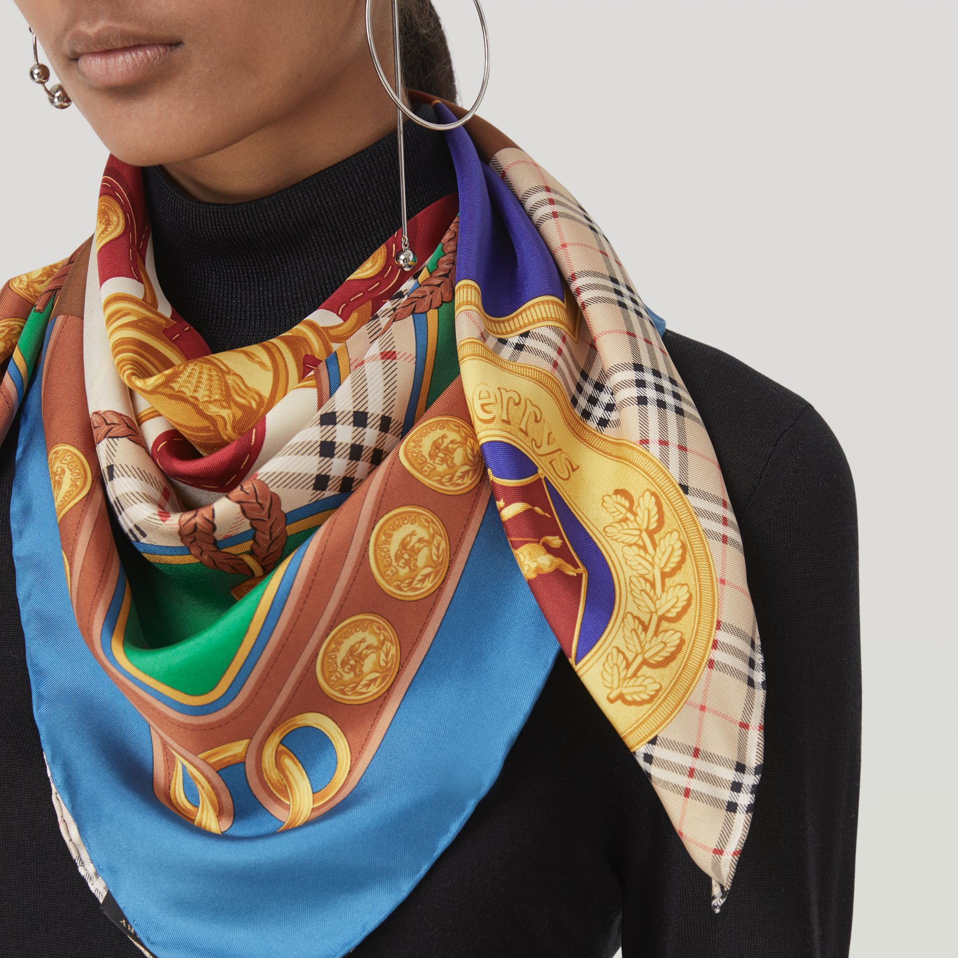 Patchwork Archive Scarf Print Silk Square Scarf in Multicolour | Burberry - gallery image 4