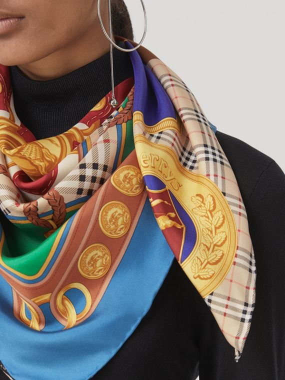Patchwork Archive Scarf Print Silk Square Scarf in Multicolour