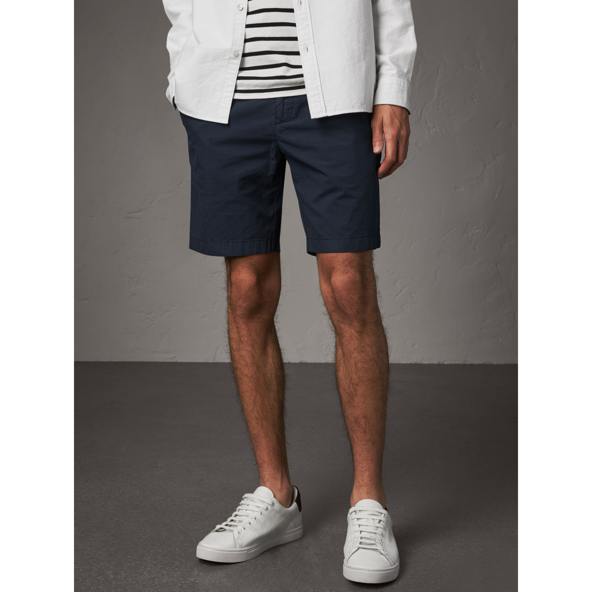 Cotton Poplin Chino Shorts in Indigo - Men | Burberry - gallery image 4