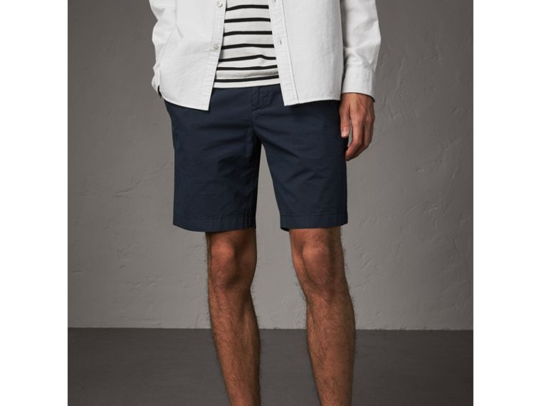 Cotton Poplin Chino Shorts in Indigo - Men | Burberry Singapore - cell image 4