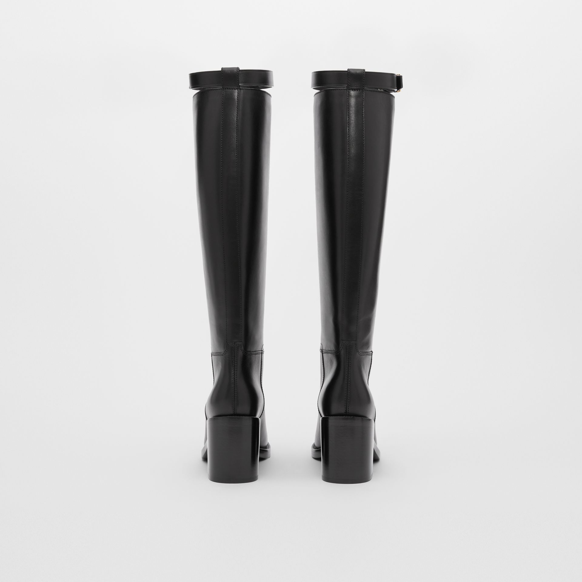 Monogram Motif Leather Knee-high Boots in Black - Women | Burberry United Kingdom - gallery image 3