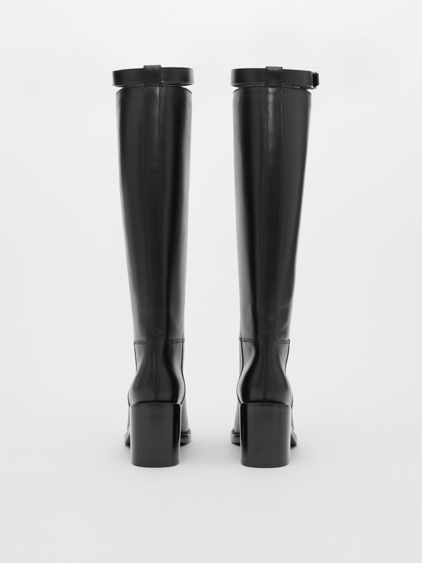 Monogram Motif Leather Knee-high Boots in Black - Women | Burberry United Kingdom - cell image 3