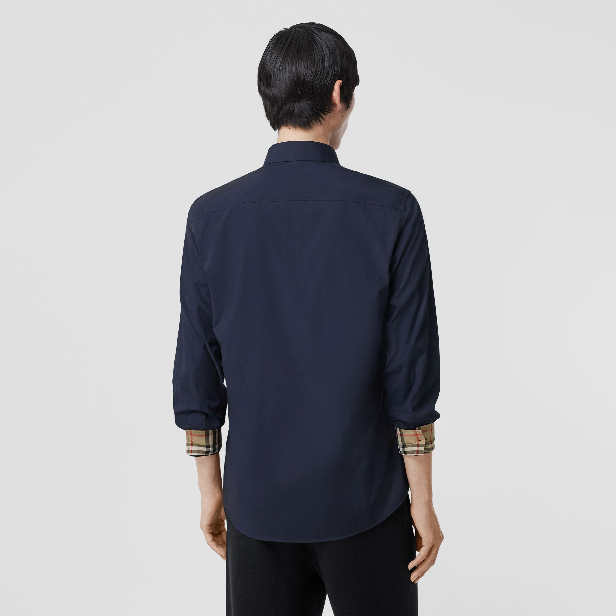 Slim Fit Embroidered EKD Stretch Cotton Shirt in Navy - Men | Burberry - 3