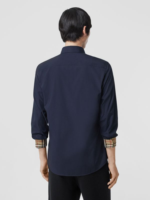 Slim Fit Embroidered EKD Stretch Cotton Shirt in Navy - Men | Burberry - cell image 2