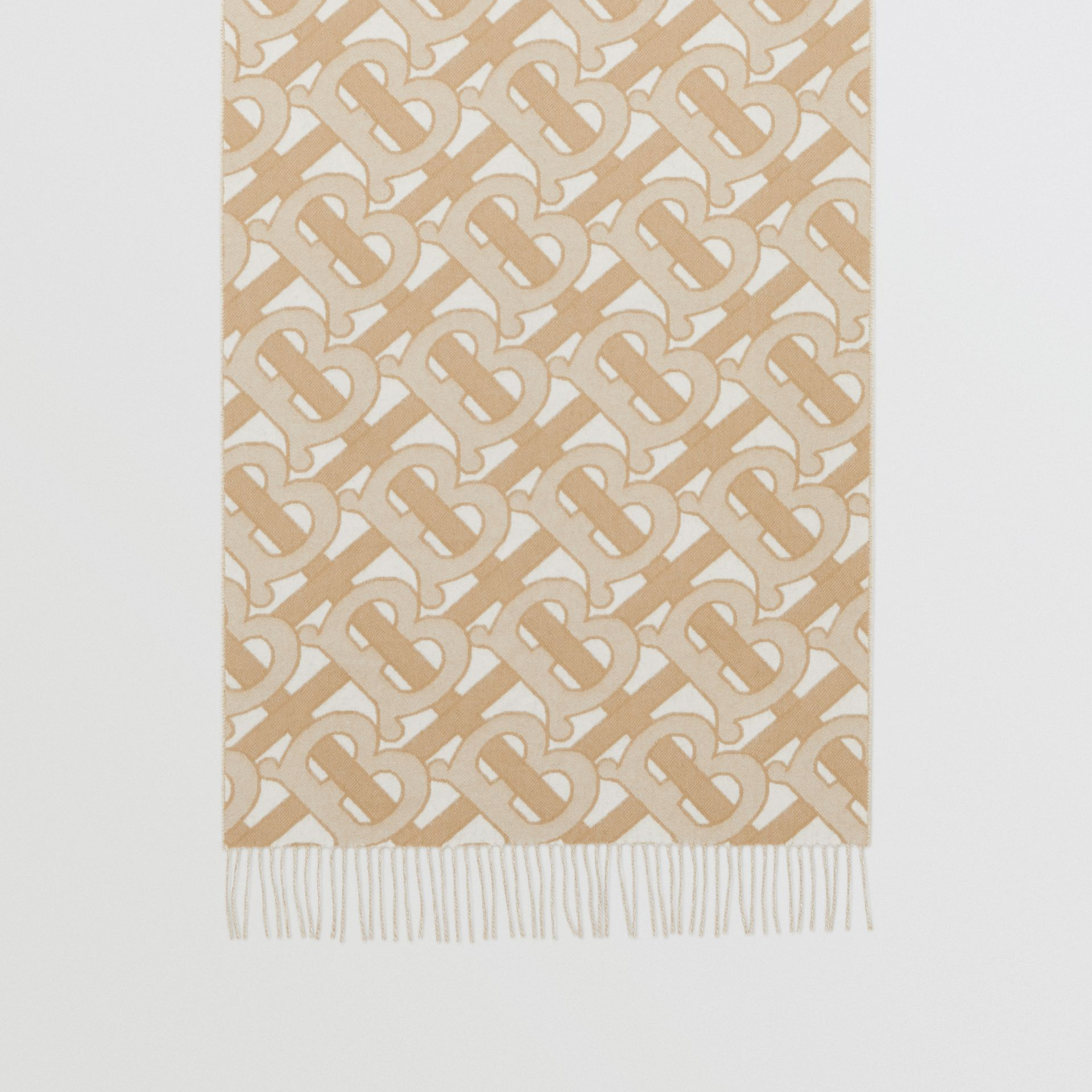 Monogram Cashmere Jacquard Scarf in Light Sand | Burberry - gallery image 4