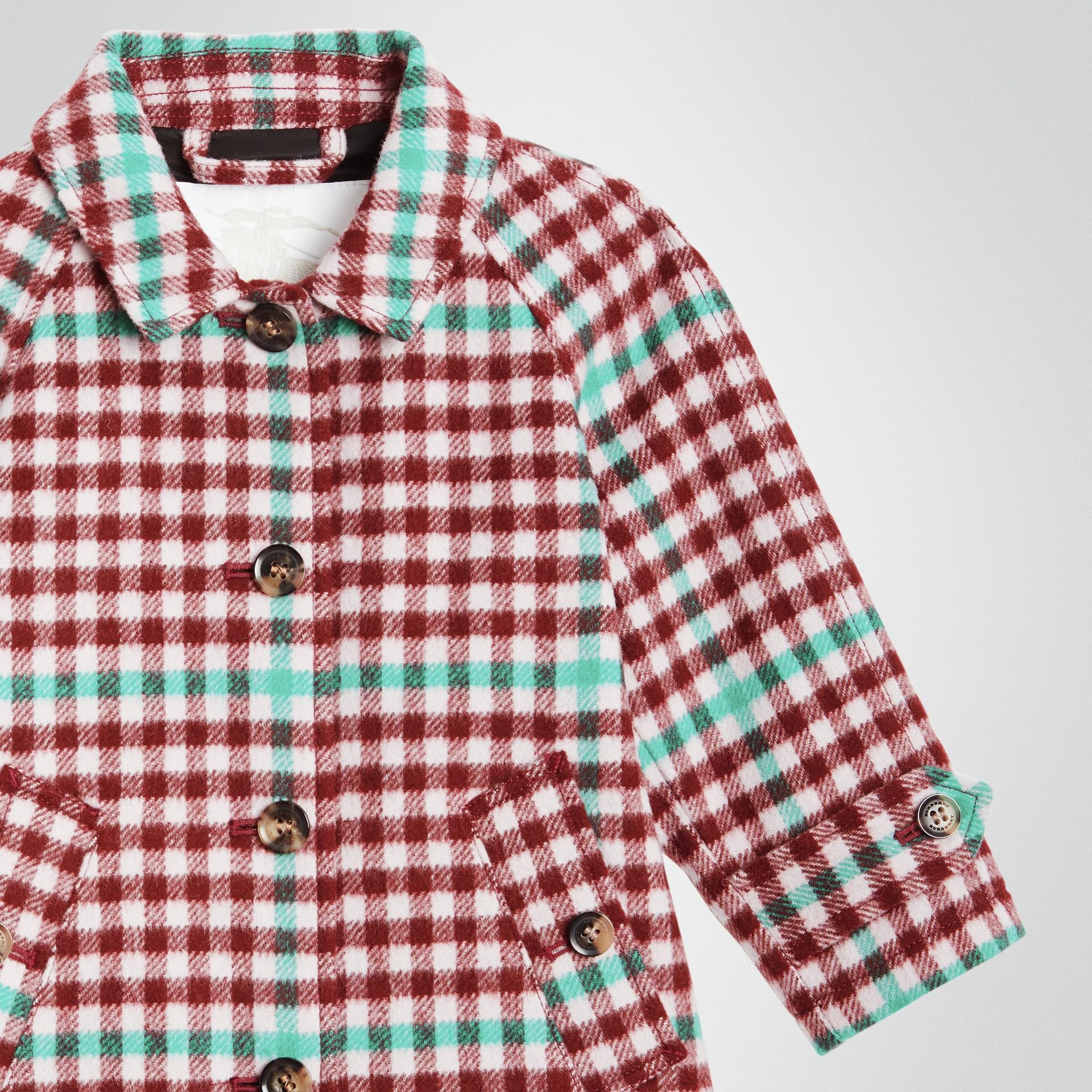Check Wool Car Coat in Garnet Pink - Children | Burberry United Kingdom - gallery image 4