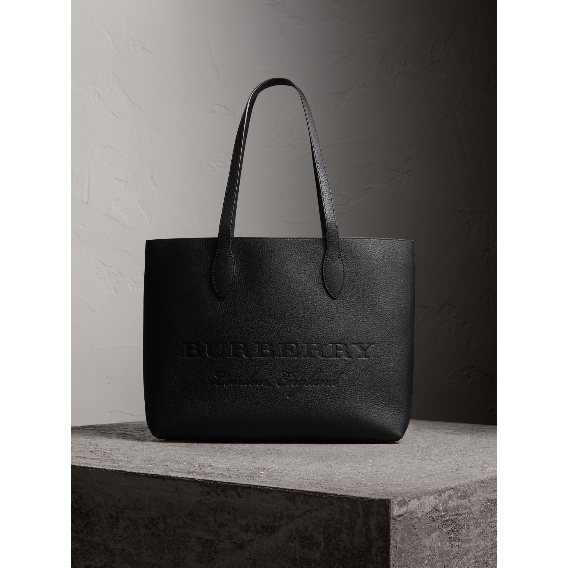 Large Embossed Leather Tote in Black | Burberry - gallery image 1