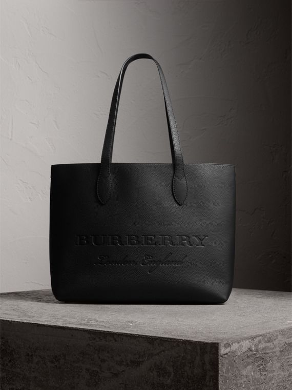 Medium Embossed Leather Tote in Black | Burberry Australia