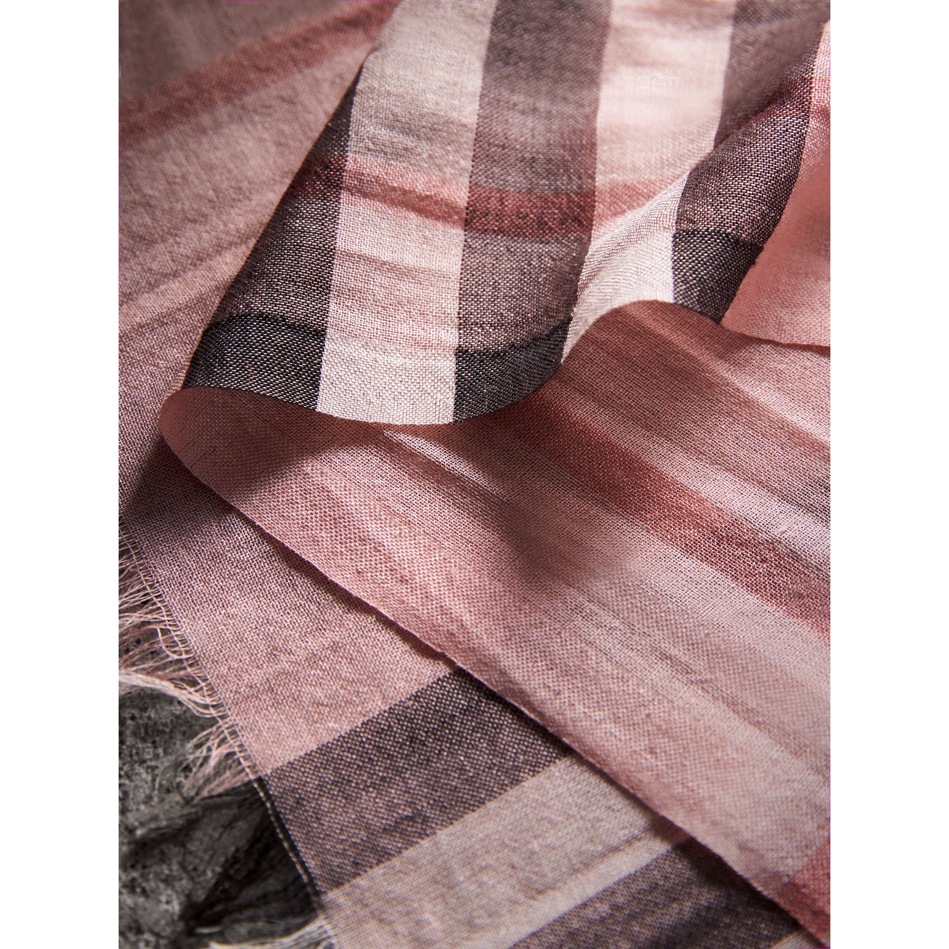 Lightweight Check Wool and Silk Scarf in Ash Rose | Burberry - gallery image 1