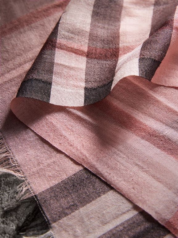 Lightweight Check Wool and Silk Scarf in Ash Rose | Burberry - cell image 1