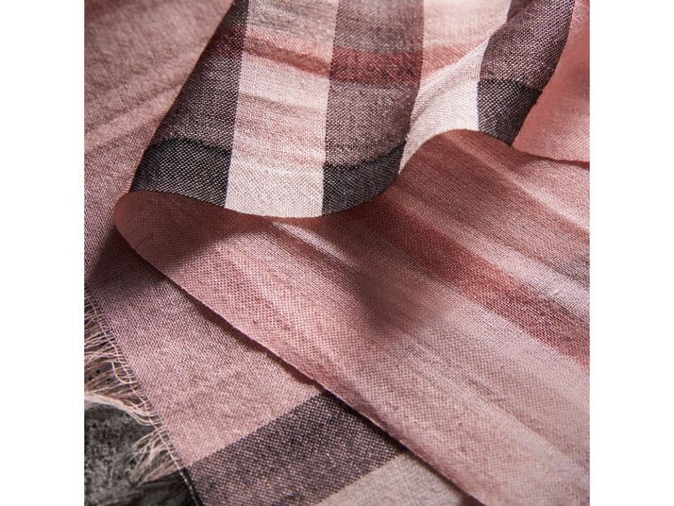 Lightweight Check Wool and Silk Scarf in Ash Rose - Women | Burberry - cell image 1