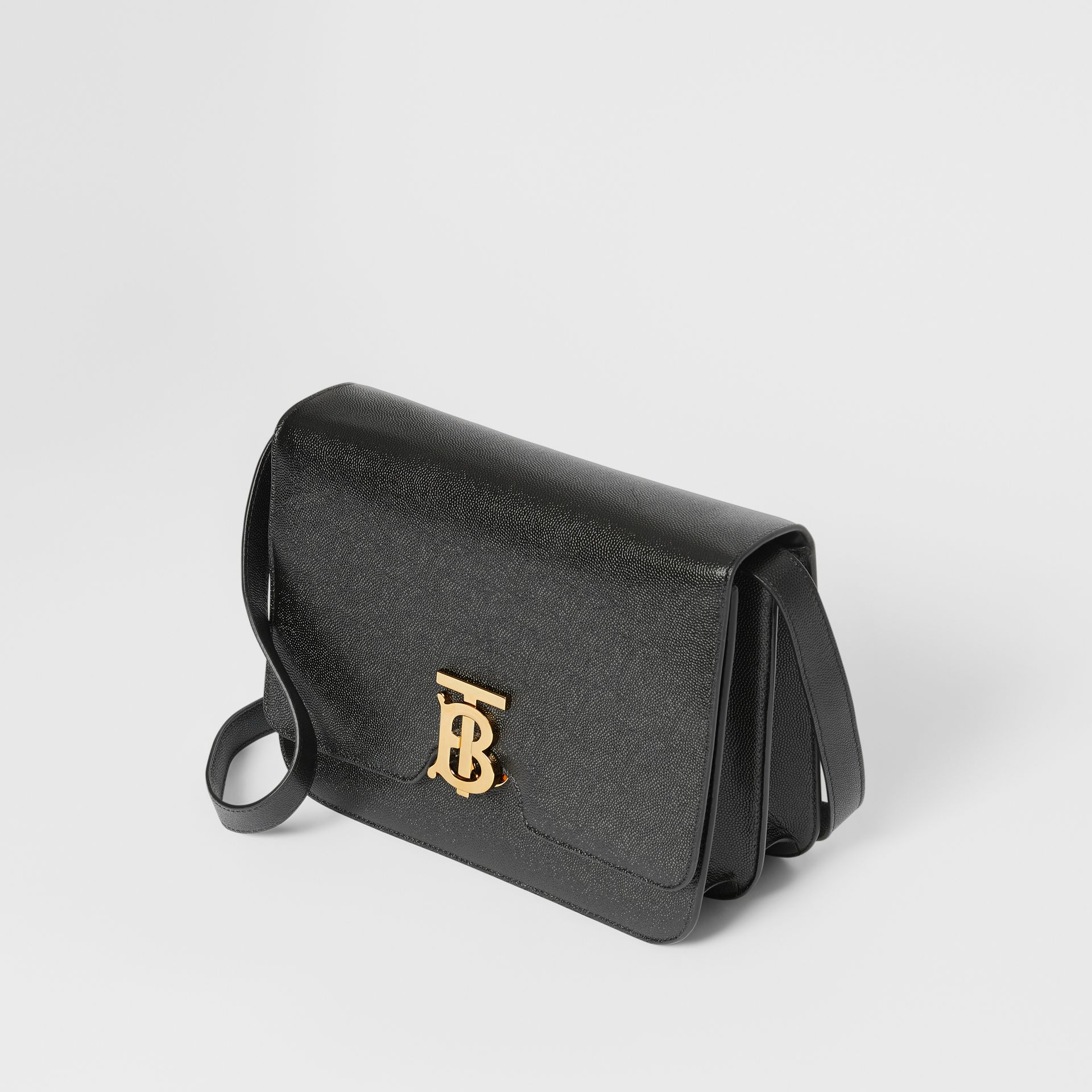Medium Grainy Leather TB Bag in Black - Women | Burberry Australia - gallery image 3
