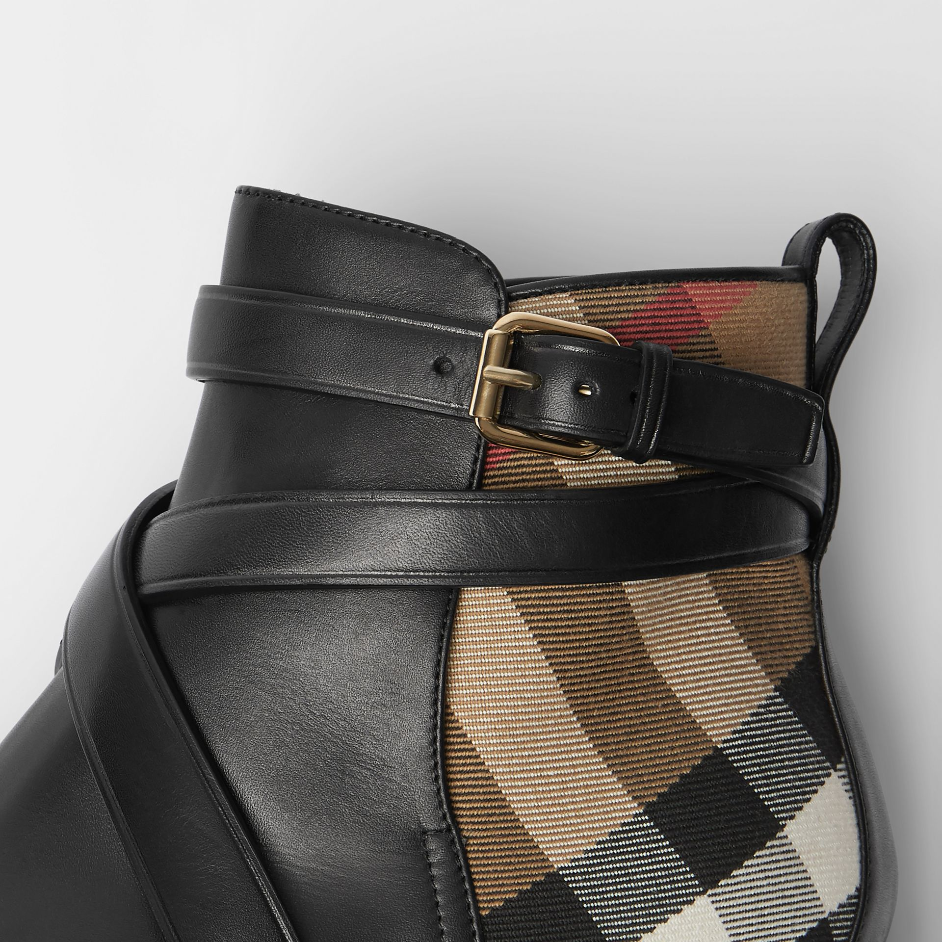 House Check and Leather Ankle Boots in Black - Women | Burberry United States - gallery image 1