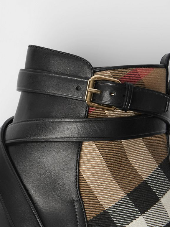 House Check and Leather Ankle Boots in Black - Women | Burberry - cell image 1