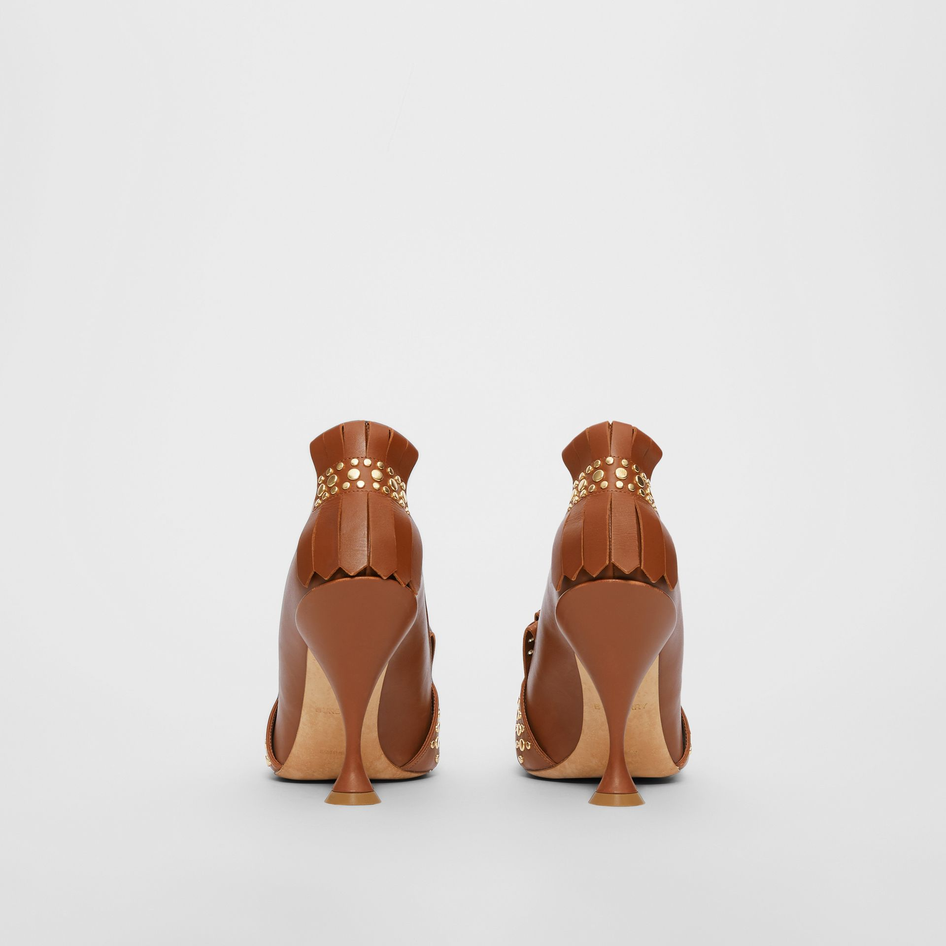 Studded Kiltie Fringe Leather Point-toe Pumps in Tan - Women | Burberry United Kingdom - gallery image 4