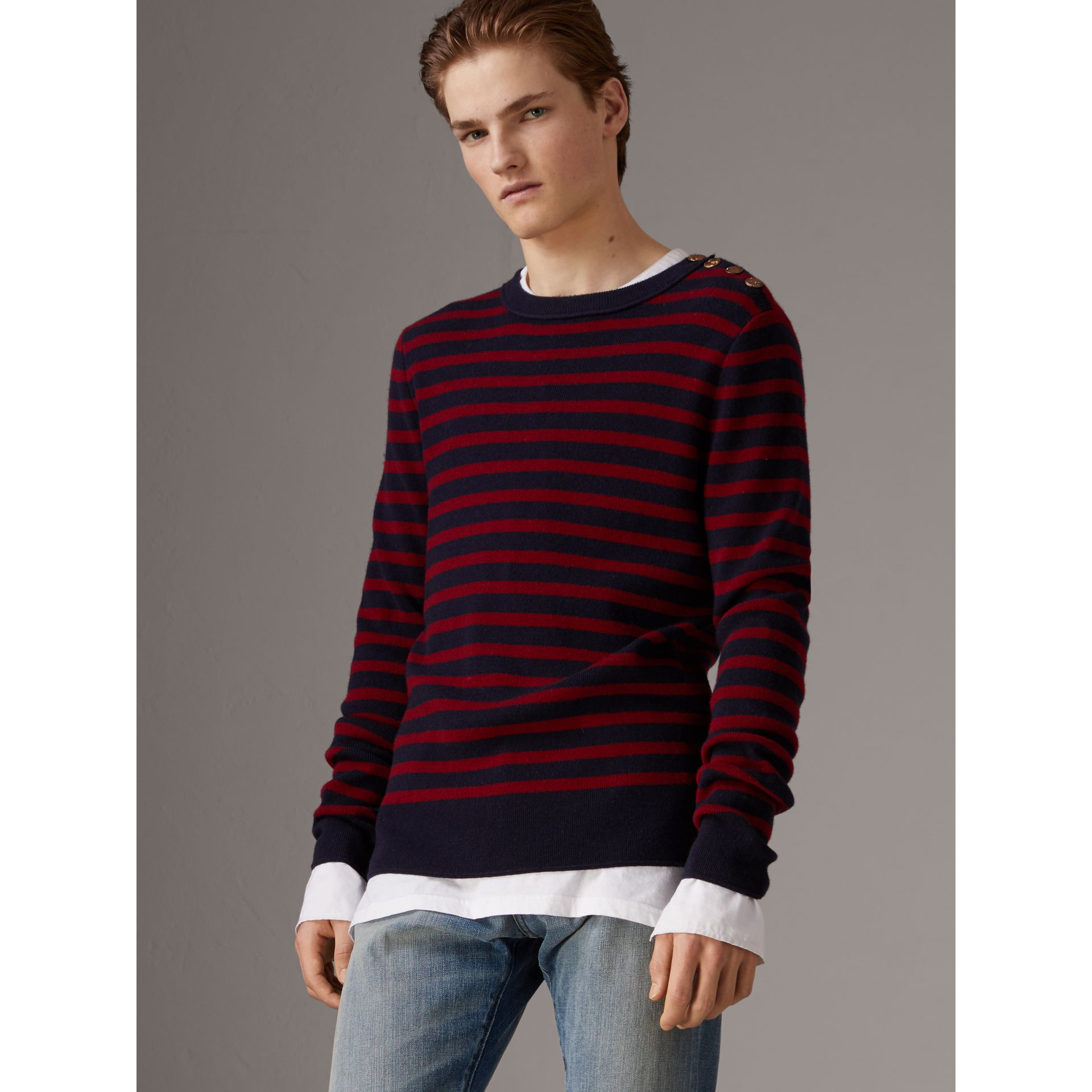 Bird Button Breton Stripe Wool Cashmere Sweater in Navy/deep Claret - Men | Burberry - gallery image 5