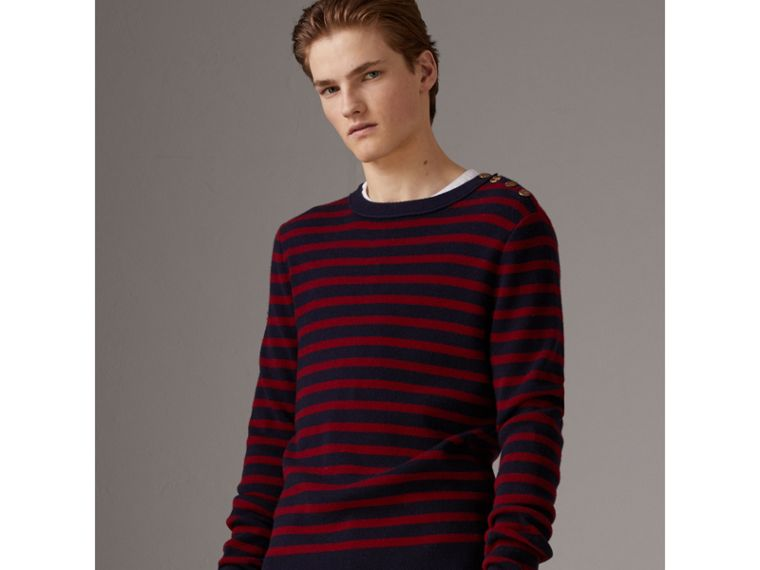 Bird Button Breton Stripe Wool Cashmere Sweater in Navy/deep Claret - Men | Burberry - cell image 4