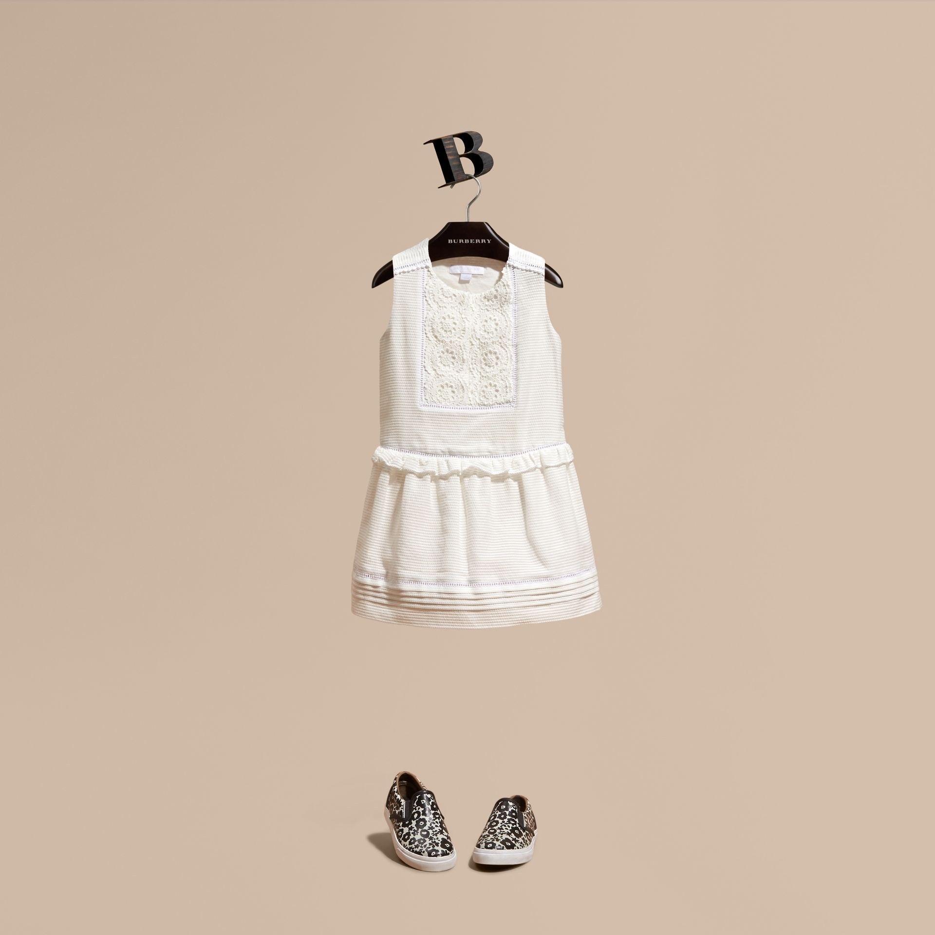 White Lace Bib Cotton Silk Sleeveless Dress - gallery image 1