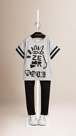 T-shirt en coton à motif passage clouté