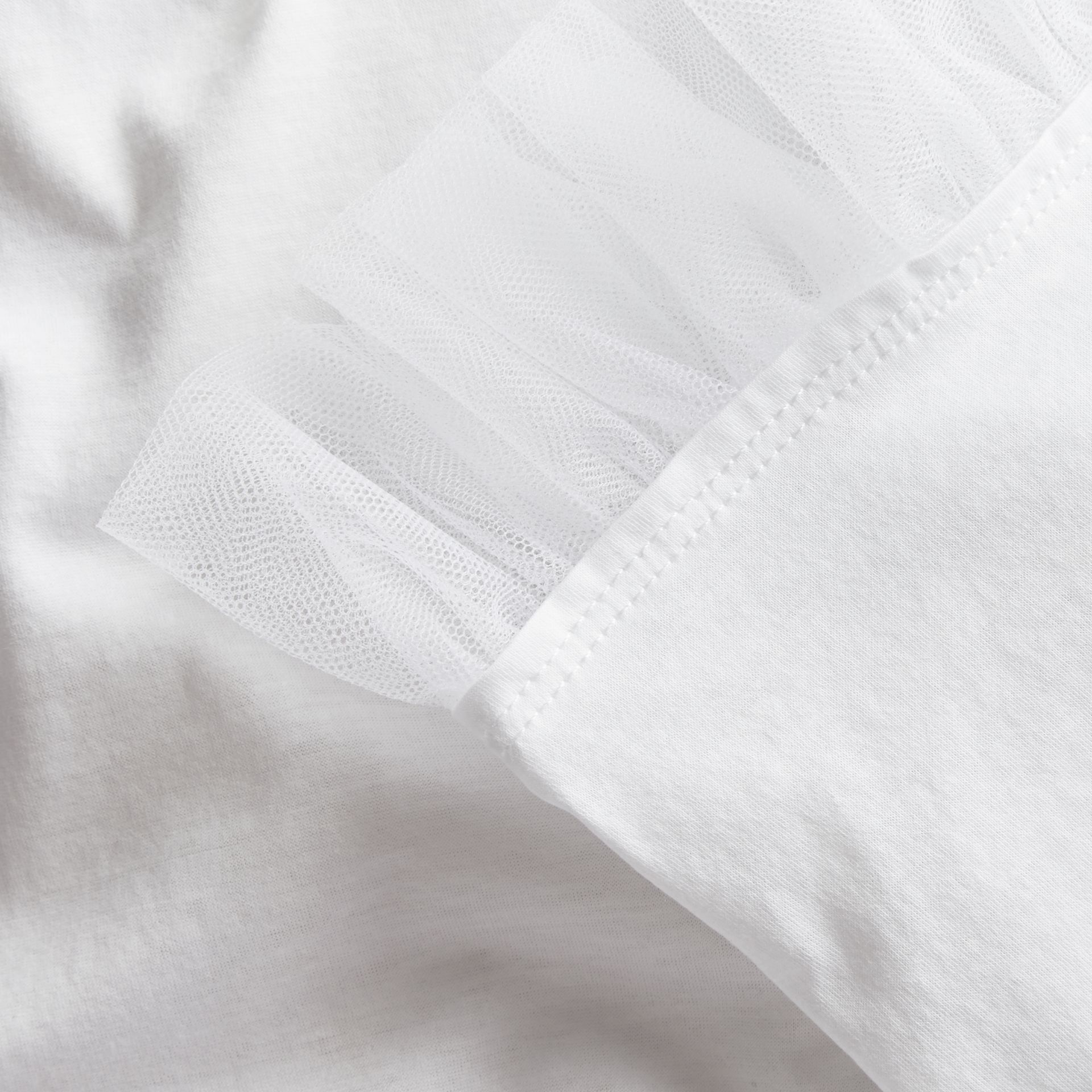 White Cotton T-shirt with Tulle Ruffles - gallery image 2