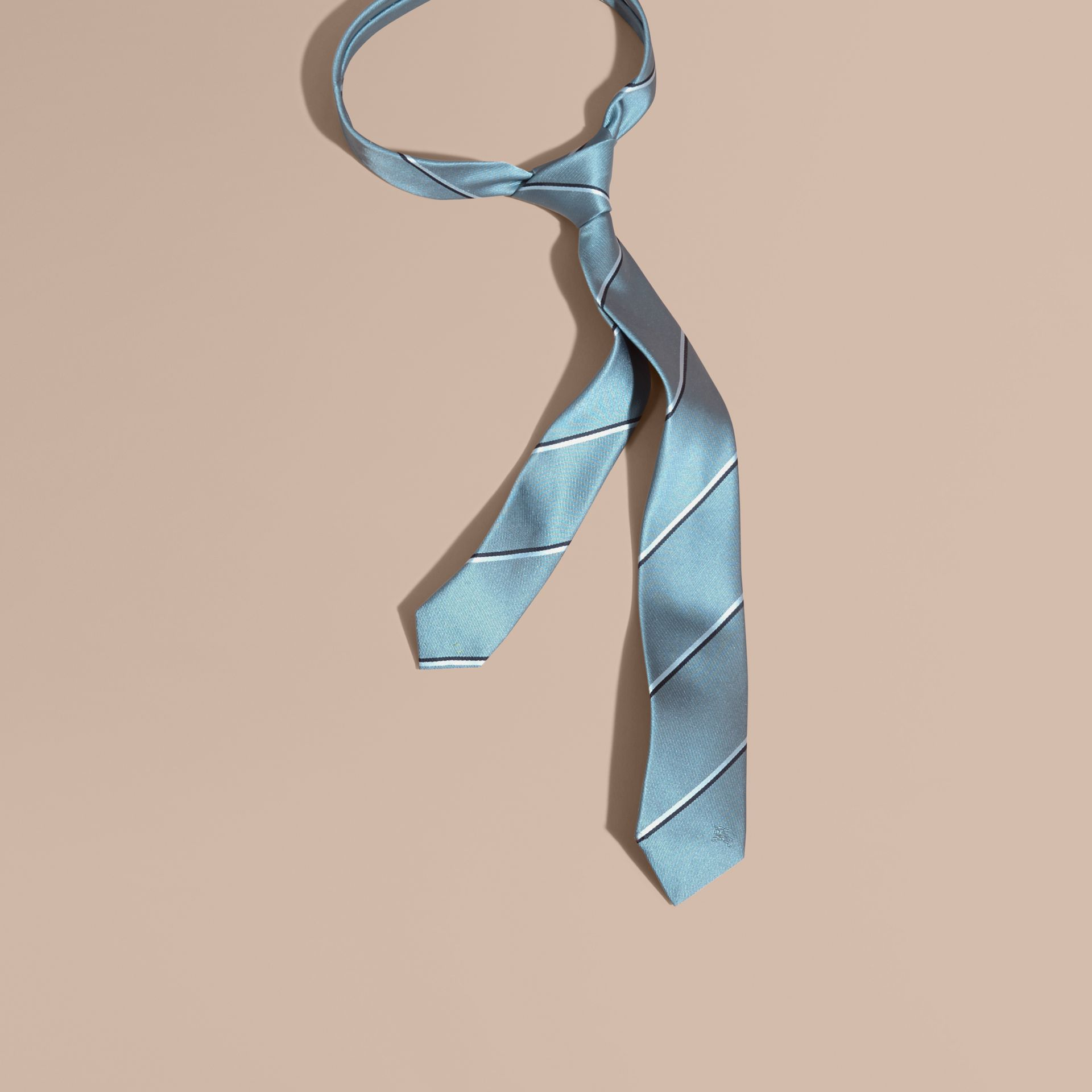 Slim Fit Striped Silk Tie in Light Blue - gallery image 1
