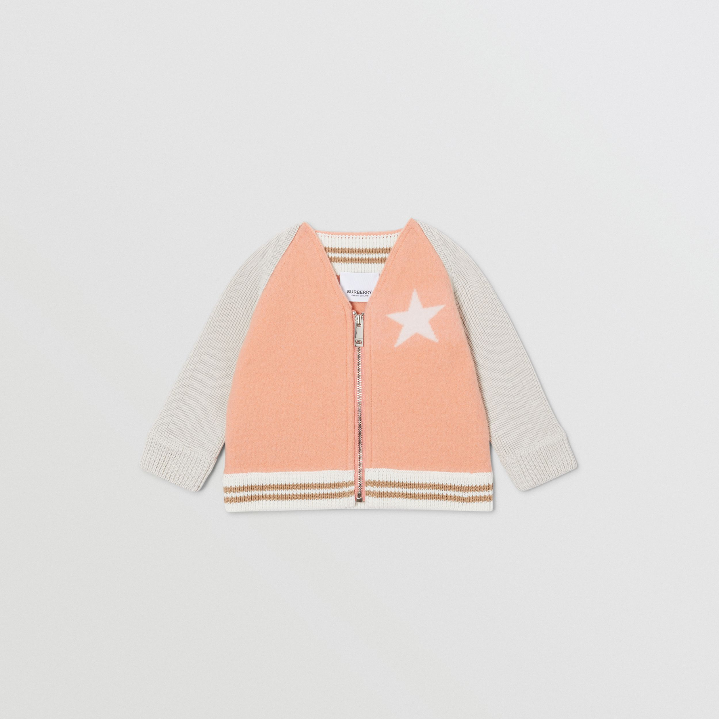Star Motif Contrast Knitted Sleeve Merino Wool Jacket in Peach - Children | Burberry - 1