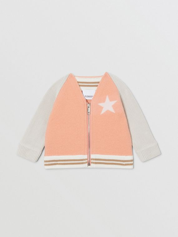 Star Motif Contrast Knitted Sleeve Merino Wool Jacket in Peach