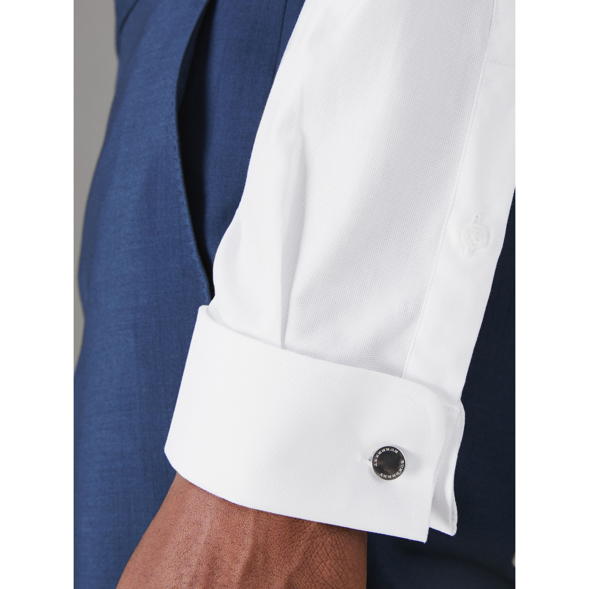 Modern Fit Double Cuff Cotton Shirt in White - Men | Burberry United States - gallery image 1