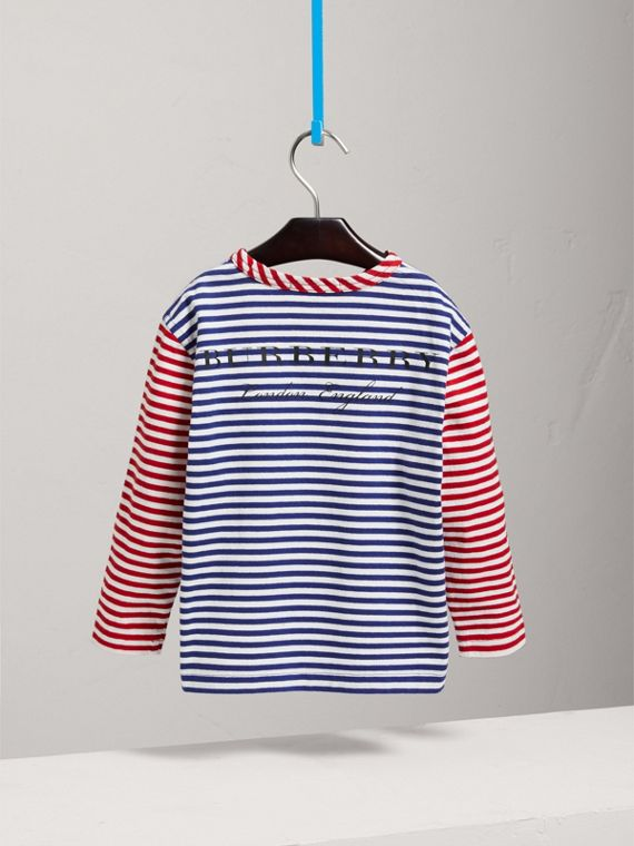 Contrast Stripe Cotton Top in Cobalt Blue - Girl | Burberry - cell image 3