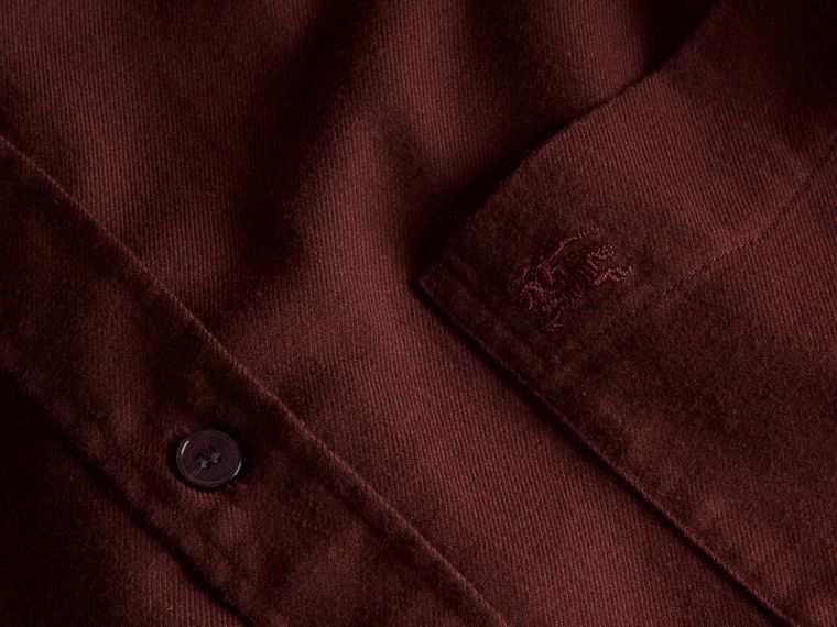 Dark elderberry Check Detail Cotton Flannel Shirt Dark Elderberry - cell image 1