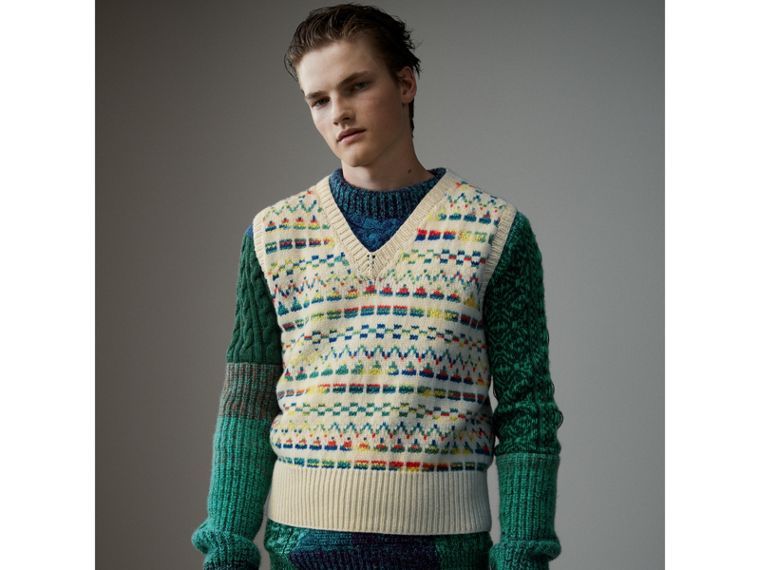 Geometric Fair Isle Wool Cropped Tank Top in Natural White - Men | Burberry - cell image 4