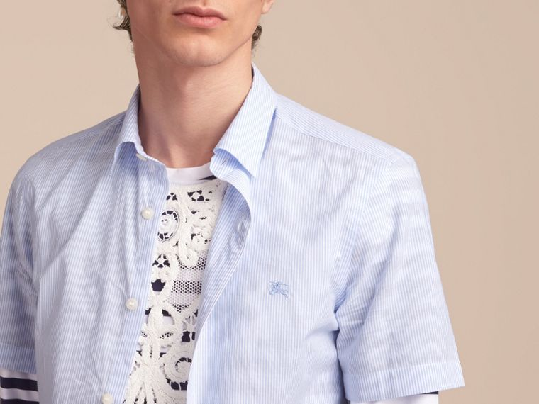 Short-sleeve Striped Cotton Seersucker Shirt in Light Blue - Men | Burberry - cell image 4
