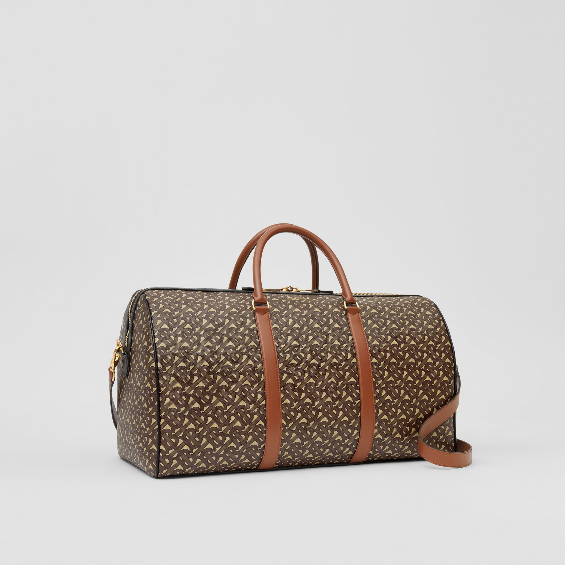 Monogram Print E-canvas and Leather Holdall in Bridle Brown - Men | Burberry - gallery image 6
