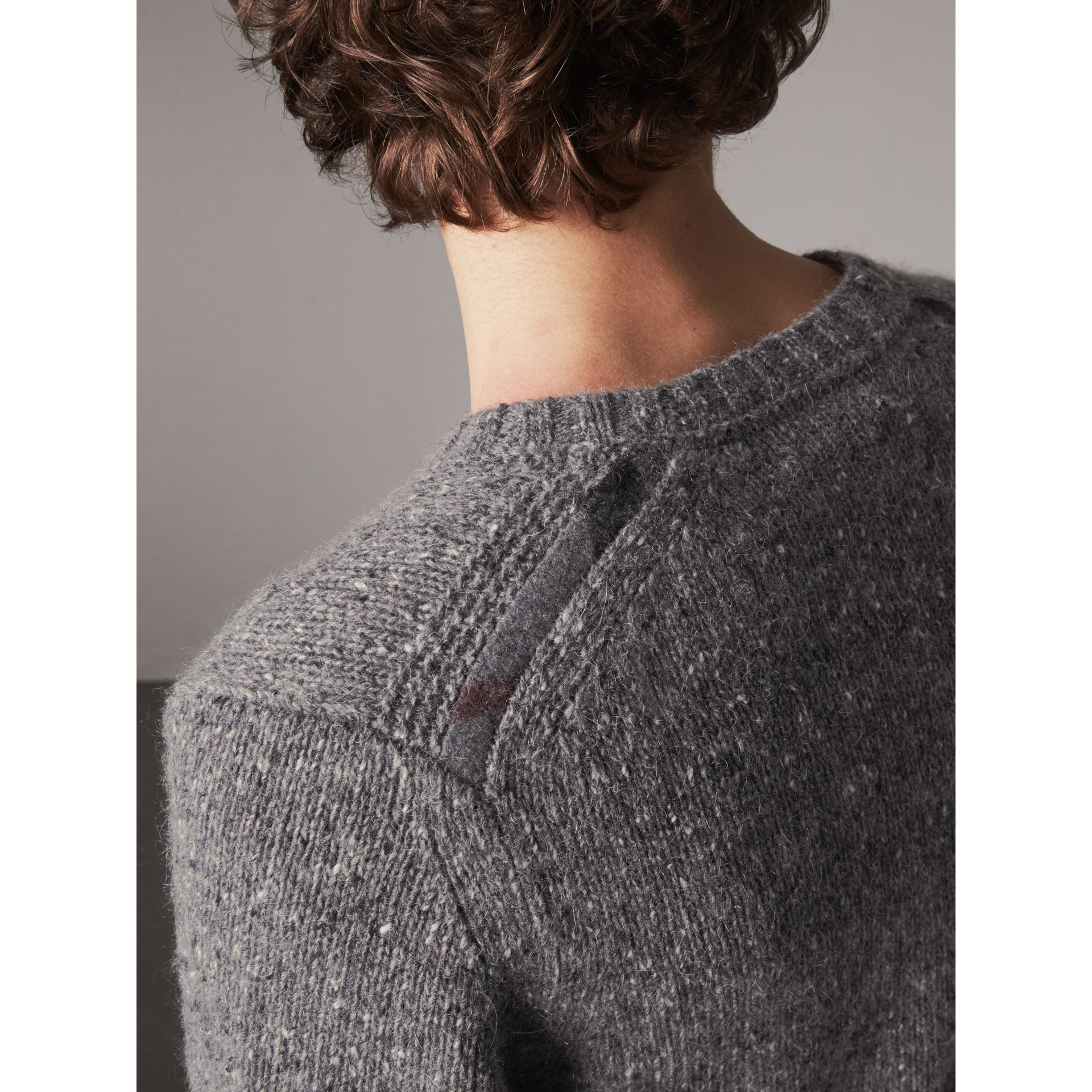 Wool Cashmere Mohair Tweed Sweater in Dark Grey Melange - Men | Burberry - gallery image 2