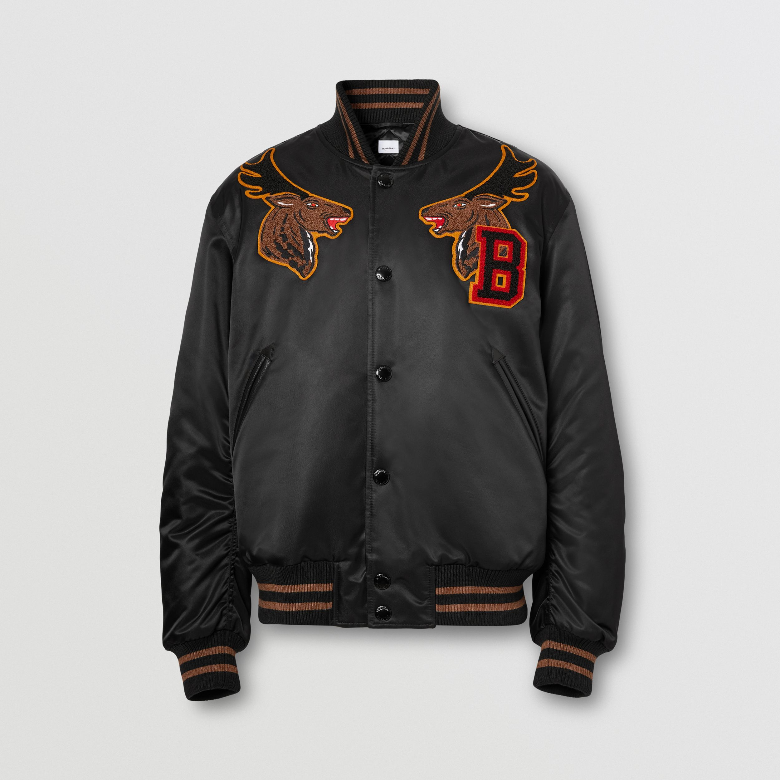 Varsity Graphic Satin Bomber Jacket in Black - Men | Burberry - 4