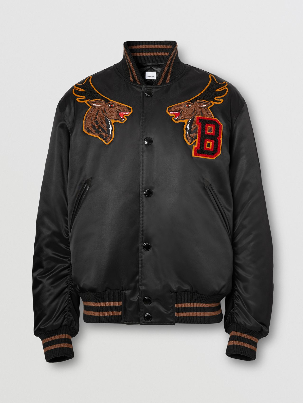 Varsity Graphic Satin Bomber Jacket in Black