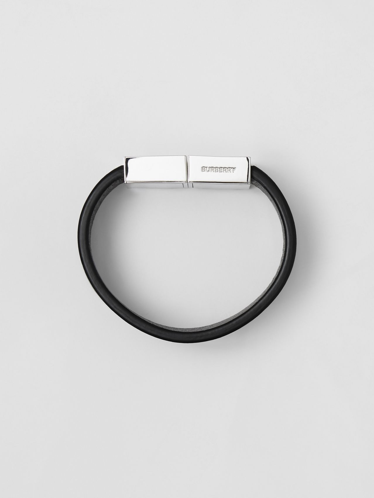 Leather and Palladium-plated Bracelet in Black/palladio