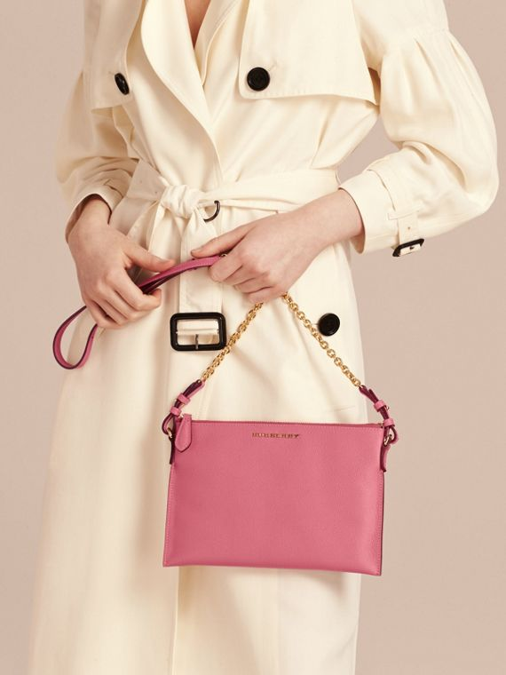 Pink azalea Leather Clutch Bag with Check Lining Pink Azalea - cell image 2