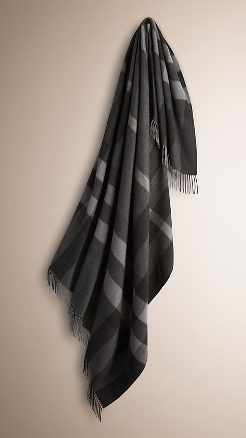 Charcoal check Check Cashmere Blanket Charcoal - Image 1