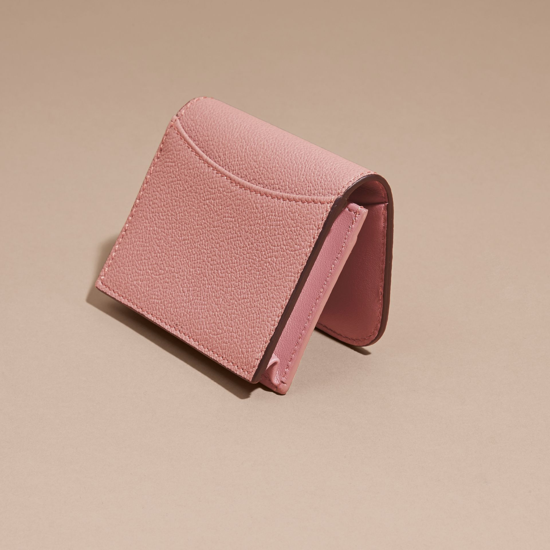 Grainy Leather Card Case in Dusty Pink - gallery image 4