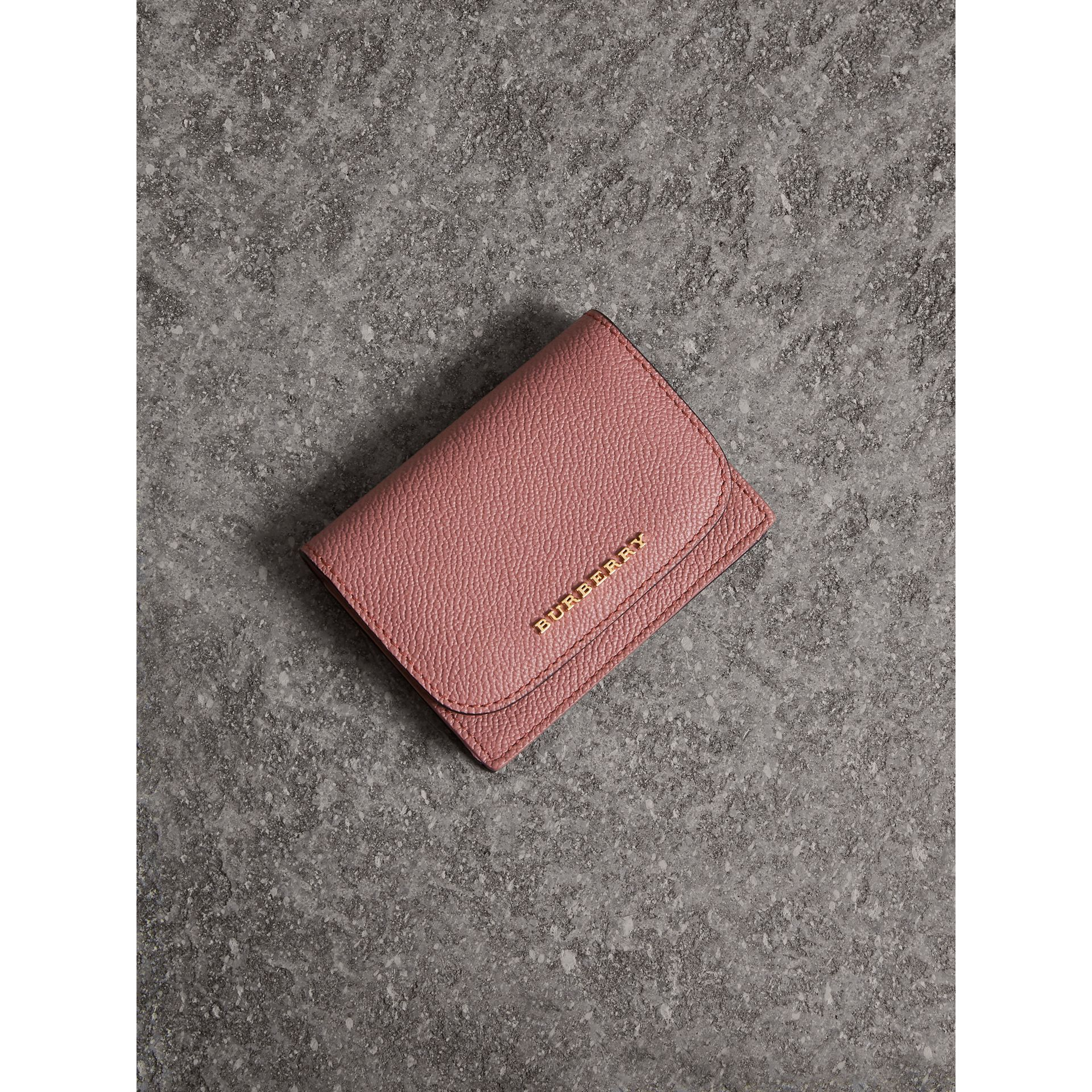 Grainy Leather Card Case in Dusty Pink - Women | Burberry - gallery image 0