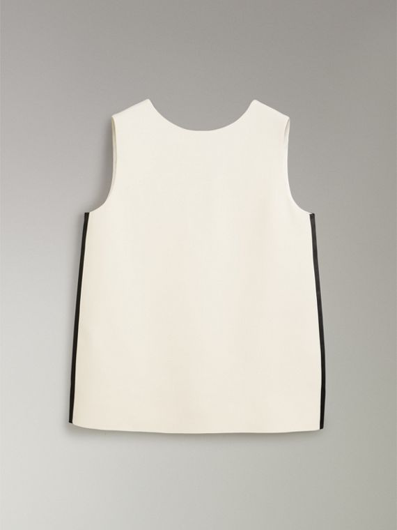 Satin Stripe Wool Silk Sleeveless Top in Off White - Women | Burberry United States - cell image 3