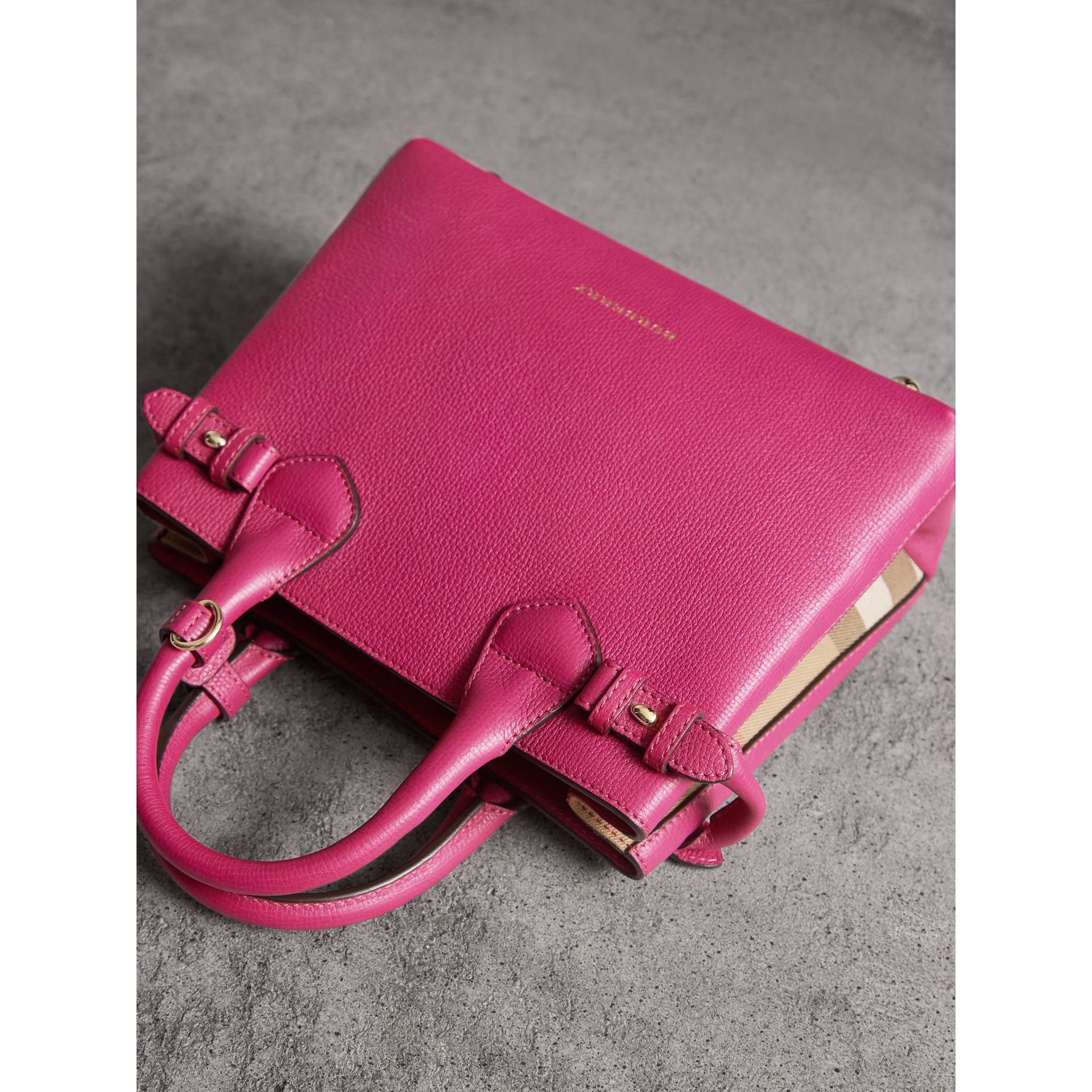 The Small Banner in Leather and House Check in Brilliant Fuchsia - Women | Burberry - gallery image 6